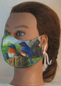 Face Mask in Eastern Bluebird Chickadee Birds Field - front left