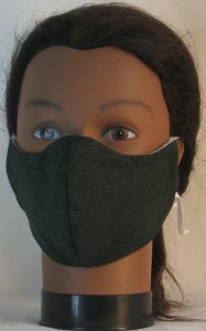Face Mask in Dark Green with Black Ripple Lines Leaf Flower - front