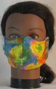 Face Mask in Yellow Blue Orange Green Color Patches Dots - front