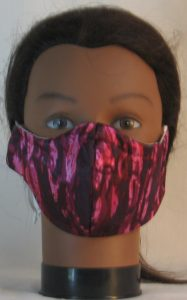 Face Mask in Plum Pink Oily in Satin - front