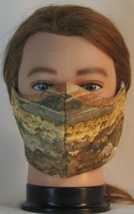 Face Mask in Landscape Mountain Trees in Tan - front