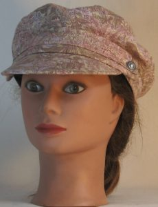 Fisherman Cap in Pink Olive White Foliage on Pale Olive - front