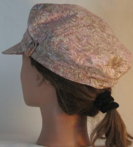 Fisherman Cap in Pink Olive White Foliage on Pale Olive - back left