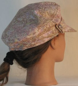 Fisherman Cap in Pink Olive White Foliage on Pale Olive - back right