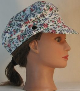 Fisherman Cap in Pink Roses Purple Blue Flowers - right