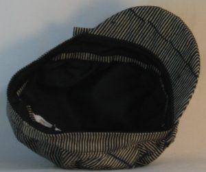 Fisherman Cap in Black with Tan Lines Brakes Batik - bottom