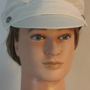 Fisherman Cap in Light Tan Cream Window Pane Check - front