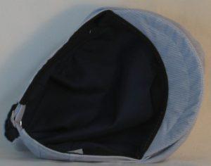 Ivy Flat Cap in Blue White Pinstripe - bottom