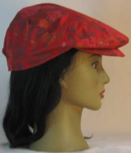 Ivy Flat Cap in Red Pink Roses Orange Flowers with Gold on Burgundy - right