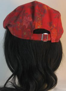 Ivy Flat Cap in Red Pink Roses Orange Flowers with Gold on Burgundy - back