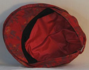 Ivy Flat Cap in Red Pink Roses Orange Flowers with Gold on Burgundy - bottom