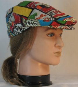 Ivy Flat Cap in Speedway Racing Sayings Black White Checkered Flag - right