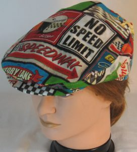 Ivy Flat Cap in Speedway Racing Sayings Black White Checkered Flag - top front