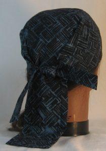 Do Rag in Black Lined Blocks on Blue Gray Batik - back