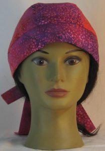 Do Rag in Purple Pink Orange Small Flower Batik - front