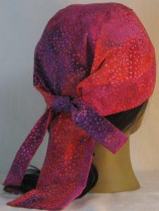 Do Rag in Purple Pink Orange Small Flower Batik - back