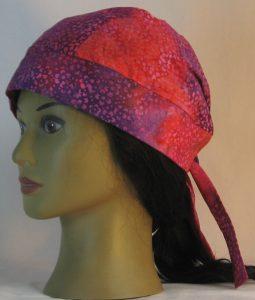 Do Rag in Purple Pink Orange Small Flower Batik - left