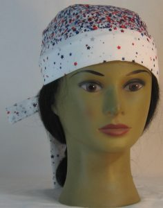 Do Rag in Red Blue Silver Stars on White - front