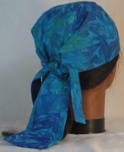 Do Rag in Dolphins in Aqua Blue Green Batik - back