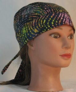 Do Rag in Pink Yellow Orange Green Black Lined Curves Batik - front right