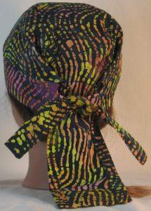 Do Rag in Pink Yellow Orange Green Black Lined Curves Batik - back