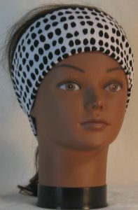 Headband in Black Animal Dots on White - front