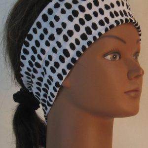 Headband in Black Animal Dots on White - right