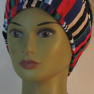 Headband in Abstract Stripe Panels in Navy Rose Green - front