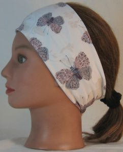 Headband in Lavender Gray Butterfly with Flower on Ivory Double Brushed - left