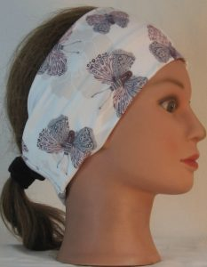 Headband in Lavender Gray Butterfly with Flower on Ivory Double Brushed - right