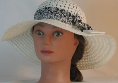 Floppy Hat Band in White Leaf Scroll Medallion on Black with White Ties - front