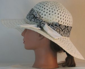 Floppy Hat Band in White Leaf Scroll Medallion on Black with White Ties - left