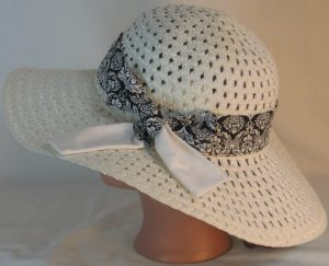 Floppy Hat Band in White Leaf Scroll Medallion on Black with White Ties - back