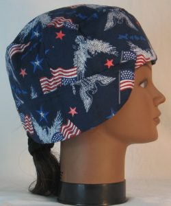 Welding Cap in White Eagle Flag Home of the Brave - right
