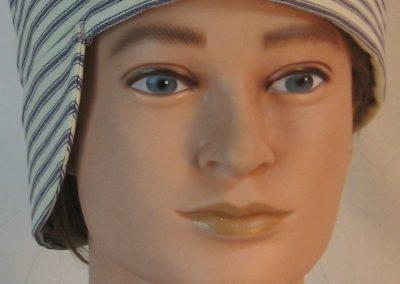 Welding Cap in Blue White Stripe Ticking - front