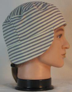 Welding Cap in Blue White Stripe Ticking - right