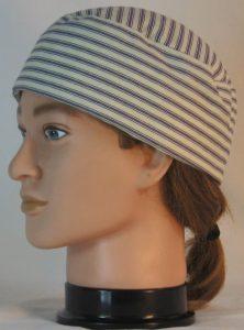 Welding Cap in Blue White Stripe Ticking - left