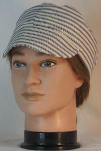 Welding Cap in Blue White Stripe Ticking - front alt