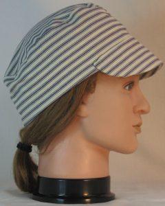 Welding Cap in Blue White Stripe Ticking - right alt