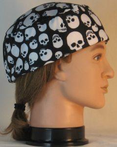Skull Cap in White Skulls On Black - right