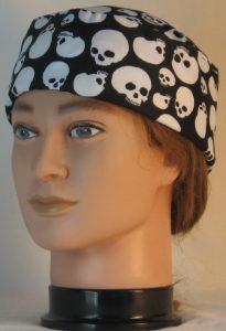 Skull Cap in White Skulls On Black - front left