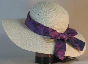Floppy Hat Band in Purple Navy Flowers on Purple Batik - back