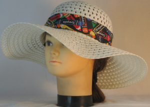 Floppy Hat Band in Rainbow Crayola Colors on Black - front left
