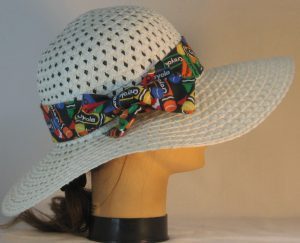 Floppy Hat Band in Rainbow Crayola Colors on Black - right