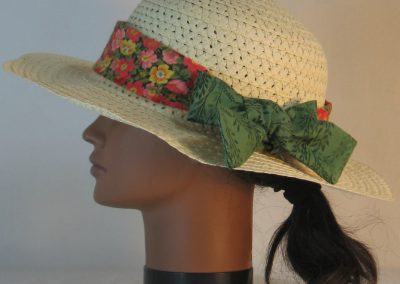 Floppy Hat Band in Pink Red Yellow Flowers Ties Green Branches - left