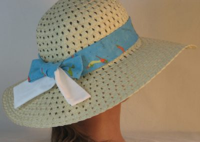 Floppy Hat Band in Objects of Desire Shoes on Aqua Ties White - back