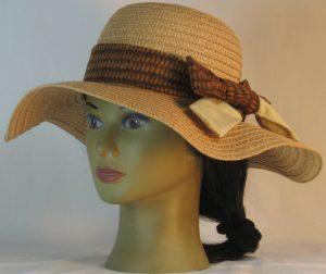 Floppy Hat Band in Yellow Brown Corn Ties Tan Crosshatch - front left