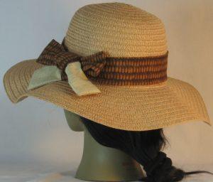 Floppy Hat Band in Yellow Brown Corn Ties Tan Crosshatch - back left