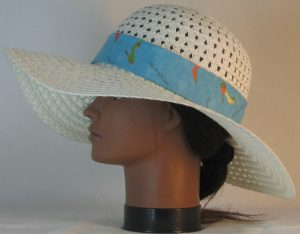 Floppy Hat Band in Objects of Desire Shoes on Aqua - left