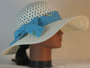 Floppy Hat Band in Objects of Desire Shoes on Aqua - right